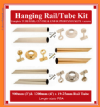 915mm Wardrobe Hang Rail KITS. BRASS 19mm & 25mm. 1-10pack